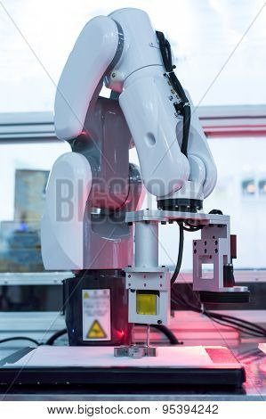 robotic hand for milling machine tool at industrial manufacture factory