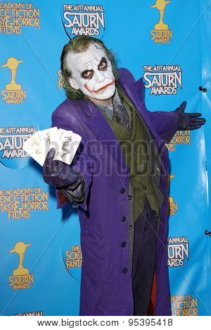 BURBANK - JUNE 25: Cosplayer as The Joker arrives at the 41st Annual Saturn Awards on Thursday, June 25, 2015 at the Castaway Restaurant in Burbank, CA.