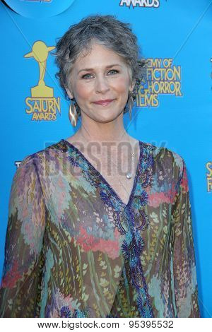 BURBANK - JUNE 25: Melissa McBride arrives at the 41st Annual Saturn Awards on Thursday, June 25, 2015 at the Castaway Restaurant in Burbank, CA.