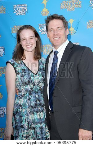 BURBANK - JUNE 25: Ben Browder and his daughter Imogene Browder arrives at the 41st Annual Saturn Awards on Thursday, June 25, 2015 at the Castaway Restaurant in Burbank, CA.