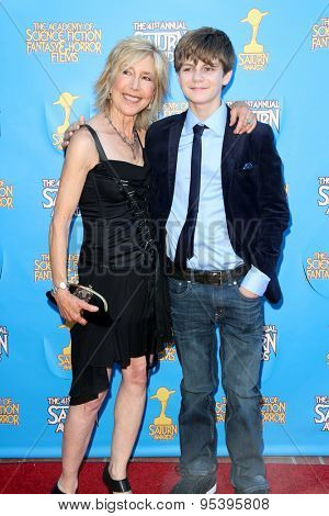 BURBANK - JUNE 25: Lin Shaye and Ty Simpkins arrive at the 41st Annual Saturn Awards on Thursday, June 25, 2015 at the Castaway Restaurant in Burbank, CA.