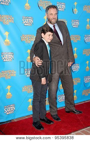 BURBANK - JUNE 25: Lance Guest and son arrive at the 41st Annual Saturn Awards on Thursday, June 25, 2015 at the Castaway Restaurant in Burbank, CA.