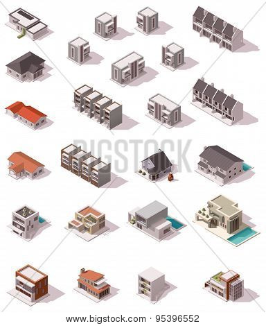 Isometric icon set representing houses with backyards