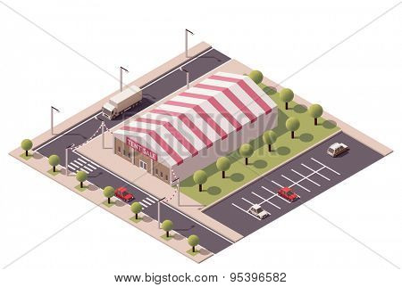 Vector isometric shopping sale tent store icon