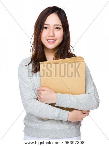 Young woman holding with folder