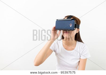 Asian woman using VR device