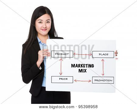 Young businesswoman holding a board presenting business mix concept