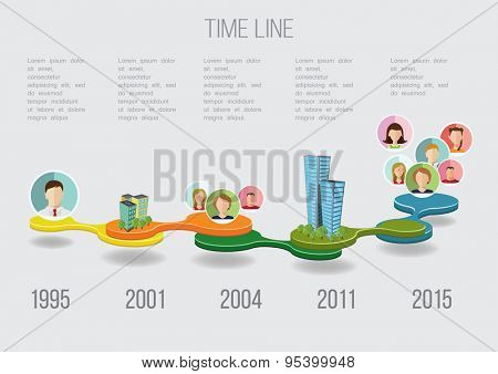 Business Time line with avatars and buildings vector illustration