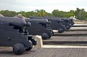 Постер, плакат: Old cannons aiming at the sea