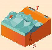 Постер, плакат: eartquake causes tsunami vector illustration