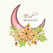 stock photo of moon-flower  - Beautiful pink crescent moon decorated with shiny flowers on white background for holy festival of Muslim community - JPG