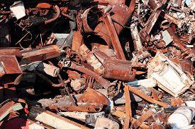 stock photo of scrap-iron  - old rusty scrap metal - JPG