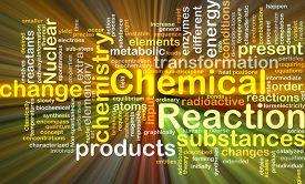 image of chemical reaction  - Background concept wordcloud illustration of chemical reaction glowing light - JPG
