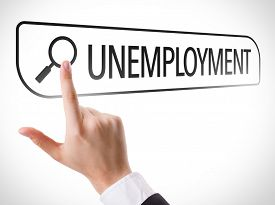 picture of unemployed people  - Unemployment written in search bar on virtual screen - JPG