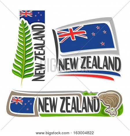Vector logo New Zealand, 3 isolated images: vertical banner branch green fern leaf on background NZ national state flag, symbol of new zealand bird kiwi, set simple blue ensign flags with union jack.
