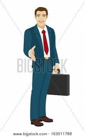 Businessman gives a hand for a handshake. Businessman holding briefcase. Vector illustration.