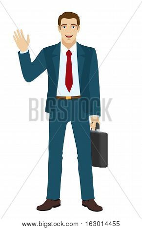 Businessman greeting someone with his hand raised up. Businessman holding briefcase. Vector illustration.