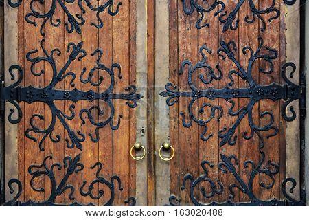 Old wrought-iron gates. Old wrought-iron gates. Church of St. Olha and Elizabeth, Lviv, Ukraine.
