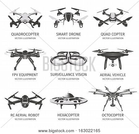 Isolated rc drone logo collection on white. UAV technology logotype set. Unmanned aerial vehicle icons. Remote control device signs. Surveillance vision multirotor. Vector quadcopter illustration