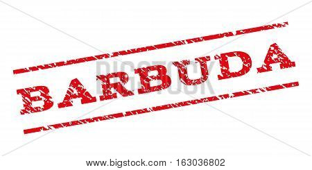 Barbuda watermark stamp. Text caption between parallel lines with grunge design style. Rubber seal stamp with dust texture. Vector red color ink imprint on a white background.
