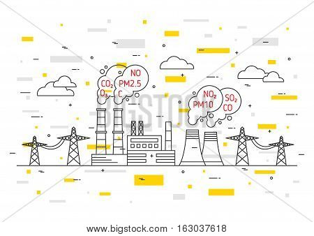 Air pollution vector illustration. Electric power station and toxic smog smoke fog concept. Coal electricity industry with hazardous elements co2 dioxide carbon no no2 pm10 graphic design.