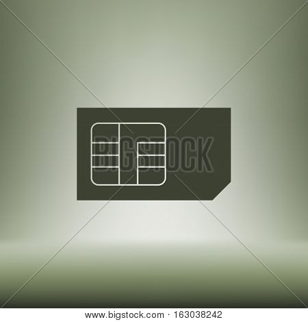 Flat Paper Cut Style Icon Of A Sim Card