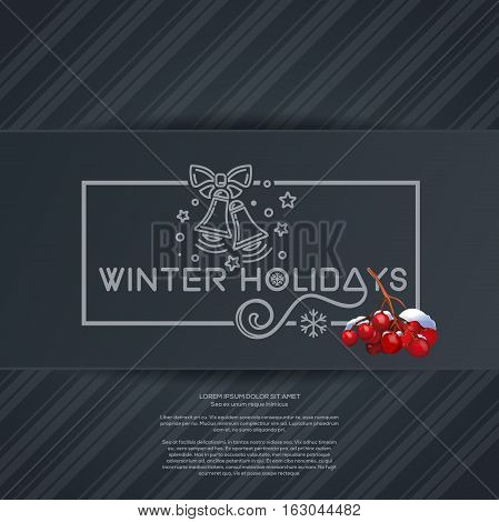 Merry Christmas lettering card with jingle bells and bunch of rowan. Winter holidays. Vector illustration