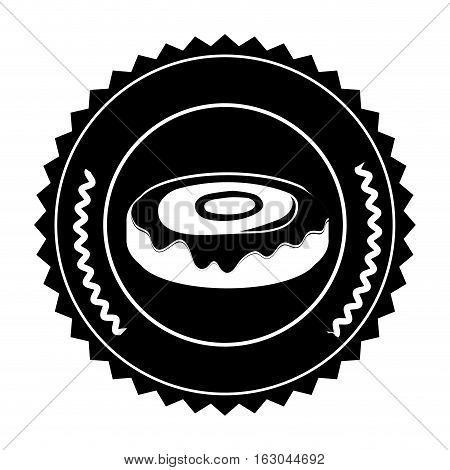 Donut inside seal stamp icon. Bakery food shop traditional and product theme. Isolated design. Vector illustration