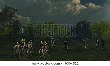 Zombies Prowling Medieval Castle Ruins
