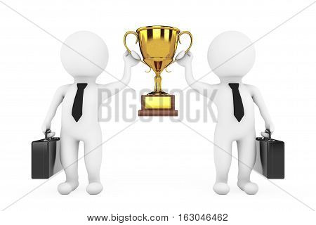 3d Businessmans Persons with a Gold Trophy in Hands on a white background. 3d Rendering