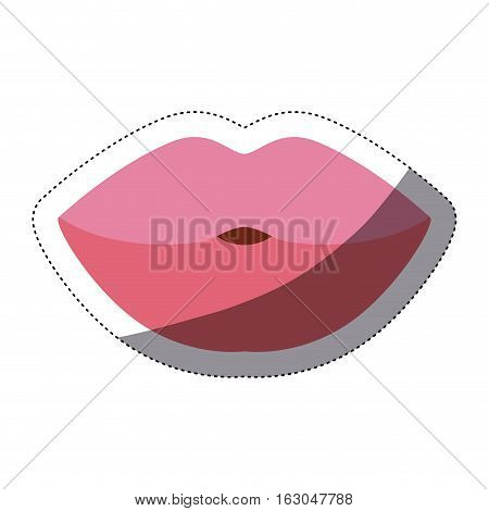 Female mouth icon. Smile lips expression and caricature theme. Isolated design. Vector illustration