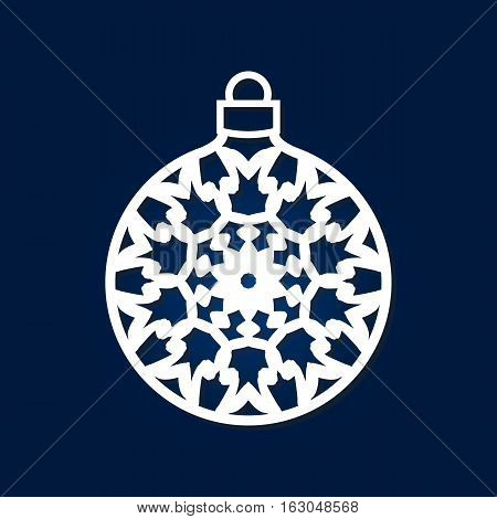Christmas ball with snowflake inside. Laser cutting template for greeting cards interior elements wood carving paper cutting scrapbooking. Image suitable for laser cutting plotter cutting etc