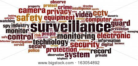 Surveillance word cloud concept. Vector illustration on white