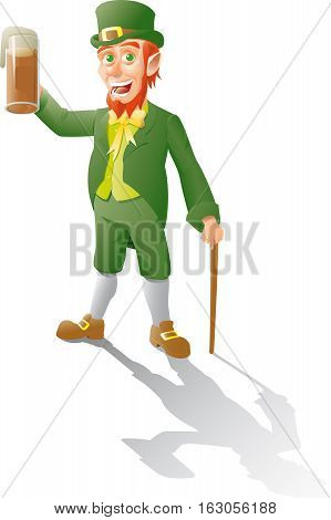 leprechaun makes a toast with beer and leans on a cane