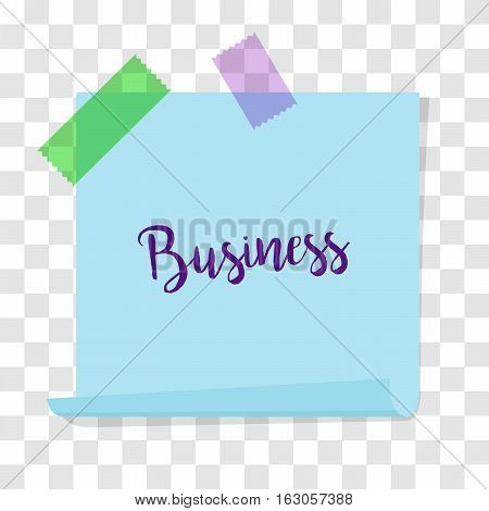 Note paper, post memo paper for business design isolated on transparent background. Vector illustration