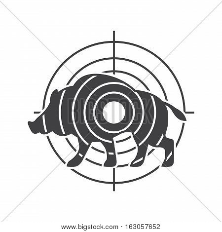 Hunting vector symbol with animal and aim. Boar hunting