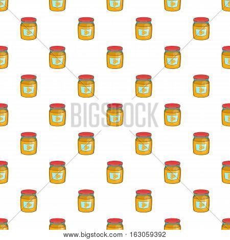 Jar of honey pattern. Cartoon illustration of jar of honey vector pattern for web