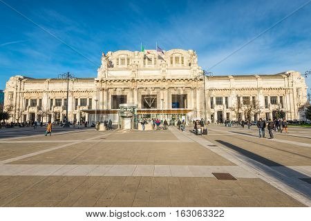 Milan Italy - December 01 2016: Milan Central Station on sunset hour the station is the main railway station of Milan where is used by 120 million passenger per year.