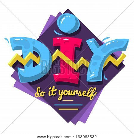 DIY Acronym. Do It Yourself. 90 s Vibrant Colors Aesthetic Type Label Design On A White Background. Vector Graphic.