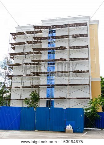 Scaffolding at a construction site of the madern building