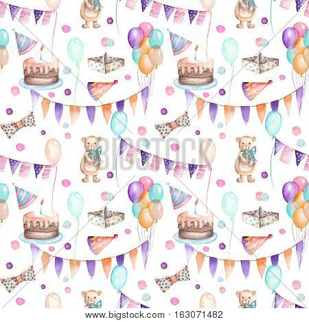 Seamless party pattern with garland of the flags, confetti, cake, air balloons, bows and gifts; hand painted in watercolor on a white background