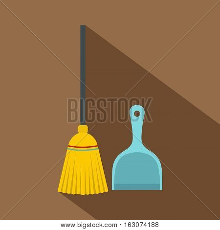 Broom and dustpan icon. Flat illustration of broom and dustpan vector icon for web