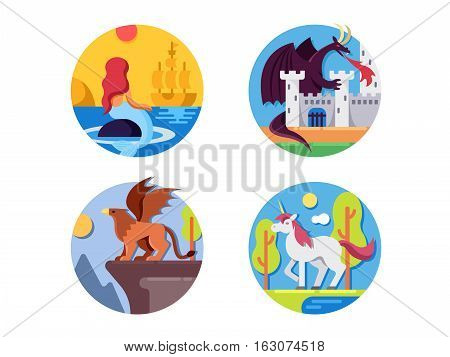 Fairy mythical creatures icons. Mermaid and dragon, griffin or unicorn. Vector illustration