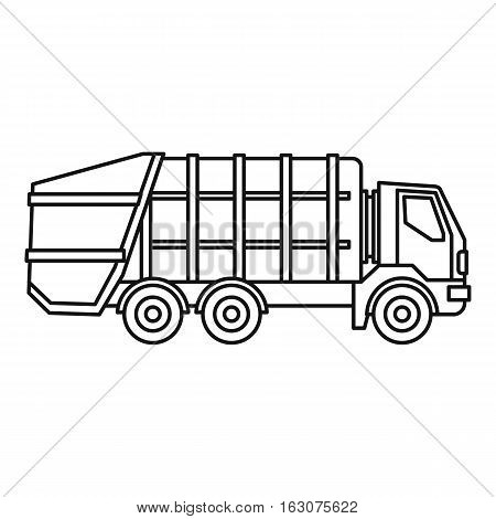 Garbage truck icon. Outline illustration of garbage truck vector icon for web