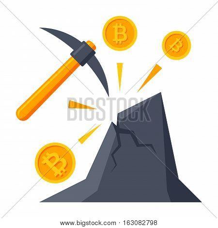 Bitcoin mining concept with pickaxe, coin and mountain