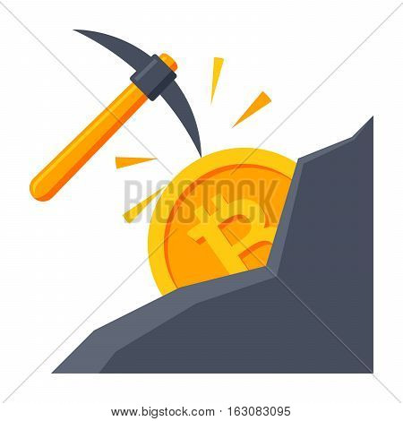 Cryptocurrency mining concept with pickaxe and bitcoin in mountain