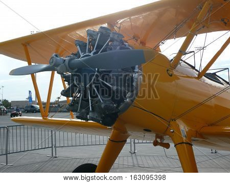n-us-nv  Nellis AFB, Nevada - 2007-11-11:  Military Air Show - Boeing-Stearman Kaydet Trainer Plane