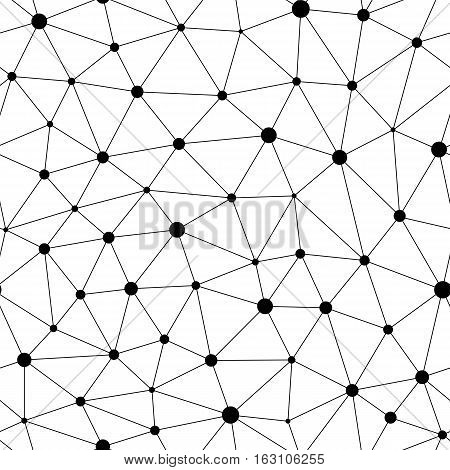 Vector monochrome seamless pattern, black dots & lines. Repeat background with linear triangles. Design for tileable print, wrapping, fabric, cloth, textile, decoration, web. Modern stylish abstract texture for your creations