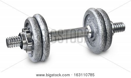 Heavy metal dumbbells on a white background