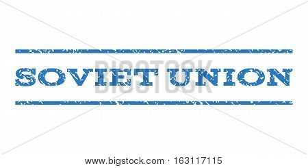 Soviet Union watermark stamp. Text caption between horizontal parallel lines with grunge design style. Rubber seal stamp with dirty texture. Vector smooth blue color ink imprint on a white background.